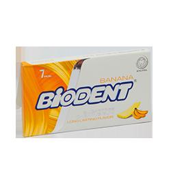 Biodent  - БананФруктовые<br>Представляем новую страну на нашем бабл гам Глобусе - Иран.<br>Вкус банана в жевательной резинке встречается довольно редко, потому как этот аромат очень сложно сделать насыщенным и похожим на настоящий фрукт, но бренду Biodent, на наш взгляд, это удалось!<br>Кроме того эта жвачка не содержит сахар, а в ее формуле вместо аспартама были использованы натуральные подсластители.<br>