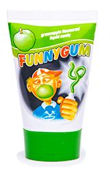 Funny Gum - ЯблокоФруктовые<br>Одна из самых необычных жевательных<br>резинок на российском рынке! Тюбик, наполненный жидкой жевательной резинкой,  которую можно выдавливать подобно зубной<br>пасте. Удобная и неординарная упаковка удивит любого, и подарит улыбку Вам,<br>Вашим друзьям и, конечно, Вашим детям!<br>Вкус - зеленое яблоко.<br>