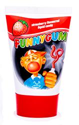 Funny Gum - КлубникаФруктовые<br>Одна из самых необычных жевательных<br>резинок на российском рынке! Тюбик, наполненный жидкой жевательной резинкой,  которую можно выдавливать подобно зубной<br>пасте. Удобная и неординарная упаковка удивит любого, и подарит улыбку Вам,<br>Вашим друзьям и, конечно, Вашим детям!<br>Вкус - спелая клубника.<br>