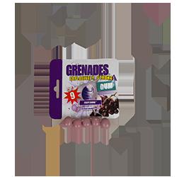 Grenades Gum - ВиноградФруктовые<br>Вот, как нам представляет производитель свой продукт: Существуют жвачки с жидким центром, в форме шариков или с различными кристаллами внутри. Мы же хотели сделать нечто, что до этого люди никогда не пробовали!  Хотелось, чтобы получилось, что то более чем простой бабл гам, которой бы доставлял яркие эмоции и чувство чего то необыкновенного! После продолжительного мозгового штурма появилась идея сделать жвачку с ментоловым напылением разной интенсивности.<br>Жвачка выполнена в виде маленькой шайбы, напоминающей по форме гранату. На каждой пачке стоят цифры от 6 до 10. Это и есть степень ментолового напыления. Вот как характеризует цифры  сам производитель:<br>6 - сильные ментоловые пары, очень свежо во рту.<br>7 - успокойтесь и продолжайте делать свою работу - жевать :)<br>8 - мозг охлажден<br>9 - если Вы сможете не открывать рот хотя бы минуту, Вы нас очень удивите!<br>10 - просто финиш...<br>У данной жвачки степень интенсивности № 9<br>