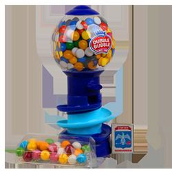 Dubble Bubble GumBall Big Bank Spin - МультифруктФруктовые<br>Наверное, каждый в своем детстве хотел бы иметь настоящий автомат с жевательной резинкой, из которого он в любой момент мог бы взять столько, сколько захочет...:)<br>Классная качественная игрушка и вкусная жевательная резинка соединены в одно целое! Такой вместительный мини ретро механический аппарат отлично подойдет для:<br>- подарка Вашему руководителю<br>- для установки в комнату переговоров<br>- корпоративного подарка <br>Теперь немного о его технических характеристиках:<br>Высота: 26,5 см.<br>Ширина: 17 см.<br>Вес: 950 гр.<br>Кол-во жвачки: 200 шт.<br>Каждый экземпляр упакован в красивую картонную упаковку.<br>Пр-во:жвачка сделана в Канаде, а сама игрушка в Китае.<br>
