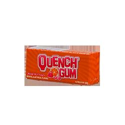 Quench Gum - Апельсиново-фруктовыйФруктовые<br>Quench Gum - спортивная жевательная резинка №1 в мире.<br>Марка появилась в штате Висконсин, благодаря баскетболисту,<br>фармацевту и химику по образованию - Курту Мюллеру. Жевательная резинка стала популярна у профессиональных<br>баскетболистов, т.к. первыми покупателями стали спортсмены баскетбольной команды<br>Harlem Globetrotters.<br>Буквально через 2 года ее жевали уже почти все спортсмены основных баскетбольных<br>клубов NBA. Вслед за этим резинка  стала<br>популярна и у футболистов, и у тяжелоатлетов и просто активных людей.<br>Quench Gum - настоящая легенда!<br>В данный момент, производство этой жевательной резинки<br>расположено в Канаде.<br>Вкус - кислый апельсин.<br>