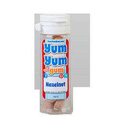 Yum Yum Gum Hazelnut - Лесной орехФруктовые<br>Название бренда переводится с англ., как вкусняшка,<br>объедение,   и такое название было<br>выбрано не зря! Удивительно вкусные, мягкие жевательные резинки точь-в-точь<br>передают вкусы любимых и всегда желанных десертов или экзотических фруктов.<br>Кроме того, эти жвачки не содержат сахара и аспартама, поэтому Вы смело можете<br>покупать их и не бояться за Вашу фигуру! Банановый крем или карамелизированный<br>поп корн, арахисовое масло или шоколадный брауни, глазированный пончик или<br>капкейк - решать Вам, чем сегодня Вы себя побалуете! <br>Данная жевательная резинка имеет вкус: лесной орех.<br>