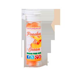 Yum Yum Gum Peaches &amp; Cream - Персик со сливкамиФруктовые<br>Название бренда переводится с англ., как вкусняшка,<br>объедение,   и такое название было<br>выбрано не зря! Удивительно вкусные, мягкие жевательные резинки точь-в-точь<br>передают вкусы любимых и всегда желанных десертов или экзотических фруктов.<br>Кроме того, эти жвачки не содержат сахара и аспартама, поэтому Вы смело можете<br>покупать их и не бояться за Вашу фигуру! Банановый крем или карамелизированный<br>поп корн, арахисовое масло или шоколадный брауни, глазированный пончик или<br>капкейк - решать Вам, чем сегодня Вы себя побалуете! <br>Данная жевательная резинка имеет вкус: персик со сливками.<br>P.s Этот вкус имеет ограниченный тираж, успейте купить!<br>