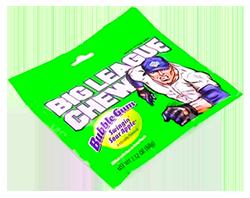 Big League Chew - Зеленое кислое яблокоФруктовые<br>Эта необычная пакетированная резинка родилась в 1977 году, когда бейсболисту питчеру Робу Нельсону и формеру команды  NY  Yankees Джиму Бутону пришла замечательная идея - измельчить жевательную резинку и положить ее в пакет. Так появилась жвачка: Big League Chew. Сейчас это любимая жевательная резинка бейсболистов и фанатов бейсбола. Смотря в телевизионных трансляциях на игроков, жующих большие комки жвачки, Вы можете быть уверены - это Big League Chew!<br>Вкус - спелое, зеленое яблоко.<br>